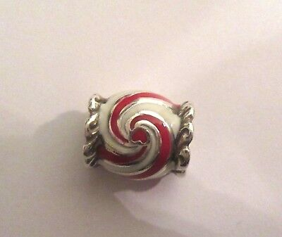 Peppermint Heart - Brighton Peppermint Candy Spacer Charm- red white silver -heart  Christmas