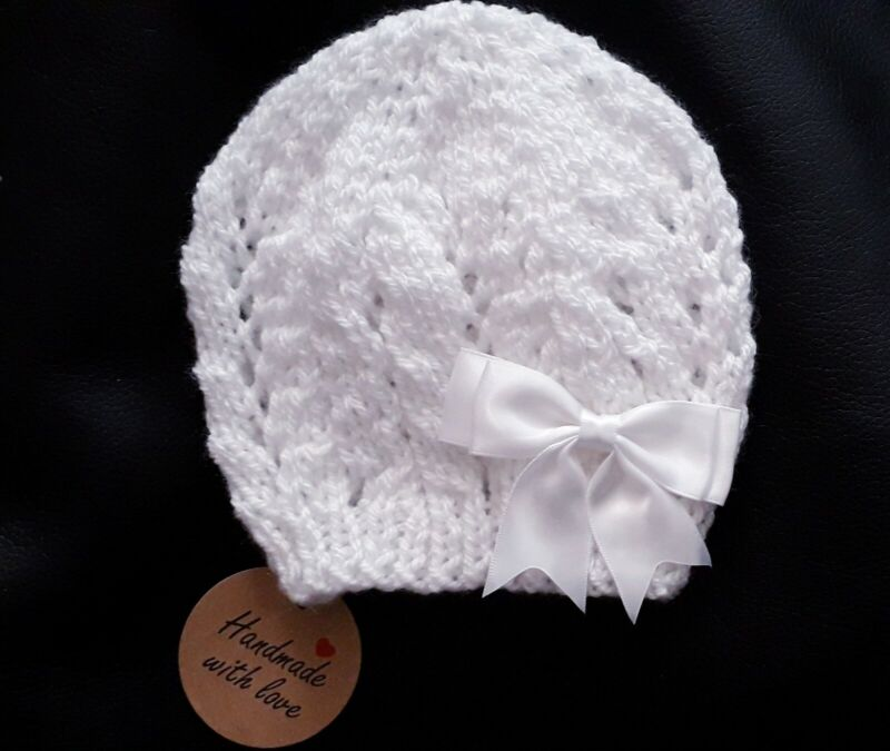 White Newborn Knitted Baby Beanie/0-3 MTHS /Lace pattern