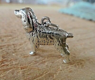 - Sterling Silver 3D 18x21mm Solid Heavy 6g Cocker Springer Spaniel Dog Charm