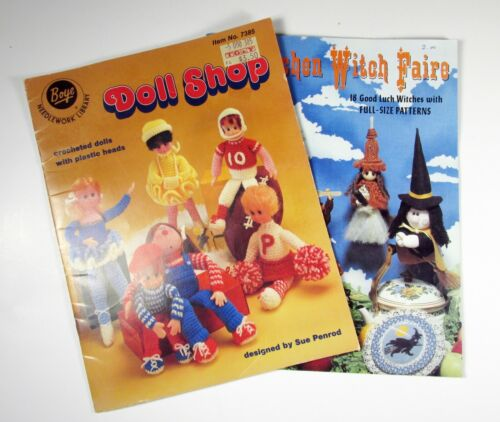 Vintage Kitchen Witch Faire Pattern Book and Boye Doll Shop crocheted dolls book