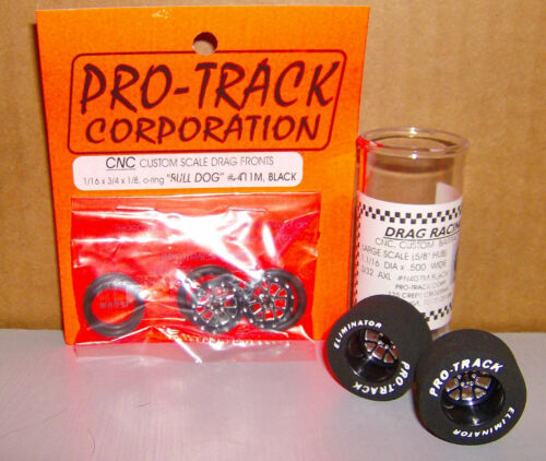 "NEW 1/24 SCALE PRO TRACK CNC CUSTOM FRONT AND REAR DRAG TIRES ""BULL DOG"" BLACK"