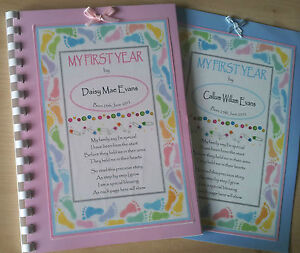 PERSONALISED BABY RECORD/MEMORY BOOK - MY FIRST YEAR