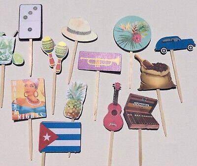 12 Cuba Havana Nights Theme party cupcake toppers/Food picks/Handmade