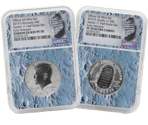 2019 Apollo 11 50th Anniversary Half Dollar 2 Coin Set NGC 70 Moon core ER