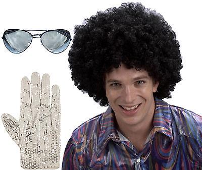 1980s Jahre Erwachsene MICHAEL JACKSON Afro Perücke Brillen Pop Handschuhe