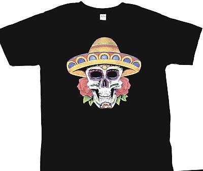 sugar skull sombrero unique design custom printed black T-shirt - Custom Sombrero