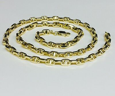 14k Yellow Gold Anchor Mariner Chain Necklace 5 MM 15 grams  22 inch