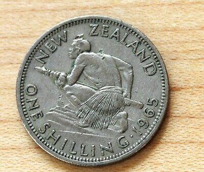 1965 New Zealand Shilling Maori Warrior  - $0.99