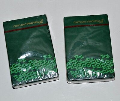 Vintage Cathay Pacific Airlines 2 Sealed Decks Playing Cards Full sets Green NOS