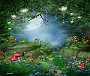 Wall mural children fantasy fairy forest repositionable for Fairy garden wall mural