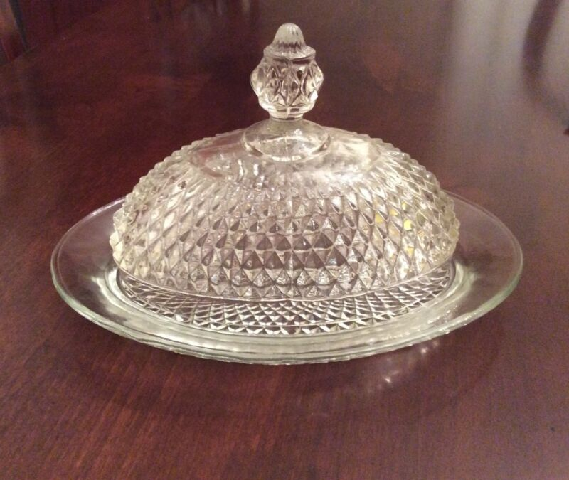 Vintage Clear Glass Butter Cheese Dish with Dome Cover Diamond Hobnail Pattern