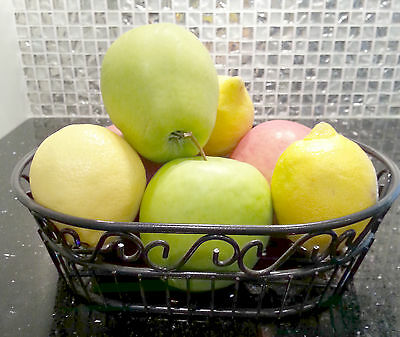 Black Metal Fruit Holder Bread Basket Gift Elegant Ships Free New - Black Metal Basket