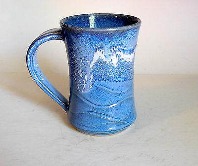 Pottery Hand Made Wheel Thrown. Coffee Mug Light Blue & White Glaze - Rollins