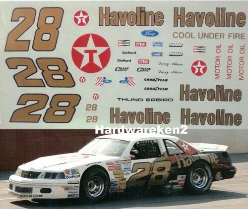 NASCAR DECAL #28 HAVOLINE 1989 FORD THUNDERBIRD DAVEY ALLISON 1//24
