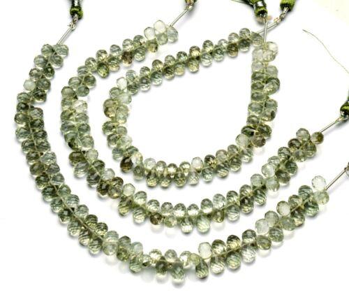 """Natural Gem Green Amethyst Prasiolite Faceted 7x5mm Size Teardrop Briolette 9"""""""