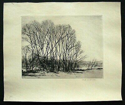 Vtg. Lg. Orig. Drypoint Etching Landscape by Robert Hogg Nisbet - Winter Trees