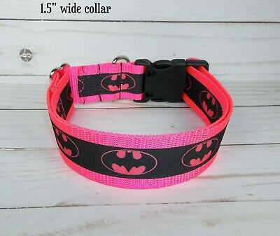 Girls Hot Pink Batman Ribbon Super Hero Terri's Dog Collar handmade adjustable - Hot Superhero Girls