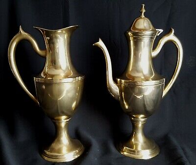 Pair of Jug and Tea Pot - Solid Heavy Brass -  Large 1ft  1.38 / 34 cm/29 cm