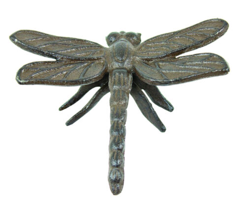 """NEW 4 1/2"""" Cast Iron Dragonfly Paperweight Antiqued Rustic Brown Home Decor"""