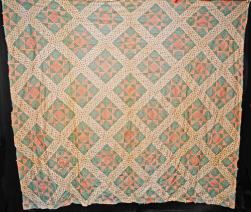 Vintage Cluster Of Stars Quilt Top - 1940 Cotton Hand Sewn Patchwork 88 x 80