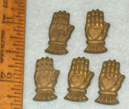 5 Antique ODD FELLOWS Brass HEART IN HAND CHARM * MC LILLEY