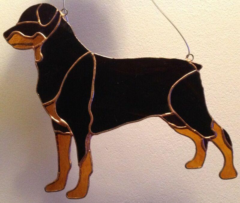 Rottweiler stained glass sun catcher