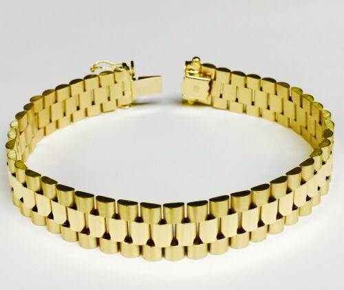 """14kt Solid Yellow Gold Rlx Style Link Mens Bracelet 7.75"""" 38 Grams 14 Mm"""