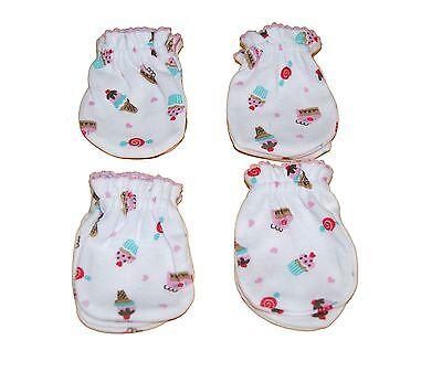 4 Pairs Newborn Baby/infant Anti-scratch Cotton Mittens Gloves---Little Cupcake