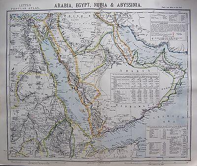 1883 ANTIQUE MAP-ARABIA,EGYPT,NUBIA & ABYSSINIA