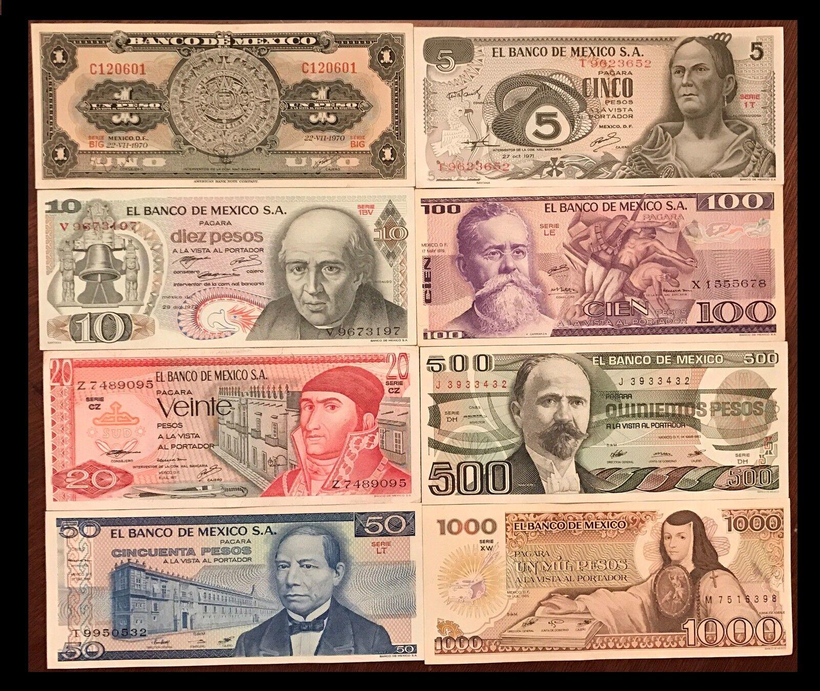 UNCIRCULATED MEXICO SET 8 BANKNOTES LOT 1 5 10 20 50 100 500 1000 pesos UNC
