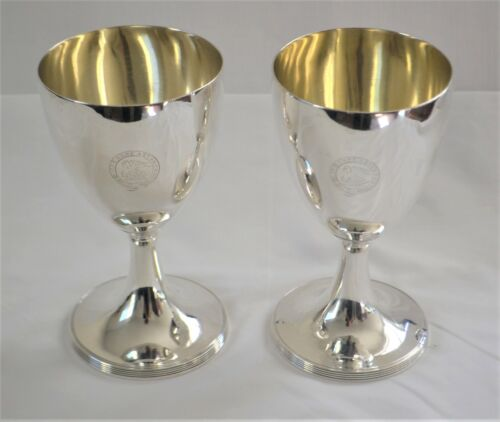 Pair of Large Antique British Sterling Silver Wine or Water Goblets London 1795