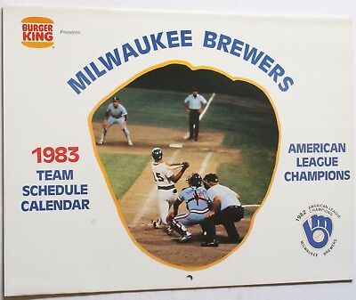 1983 Milwaukee Brewers Calendar Schedule Burger King Yount Molitor Fingers