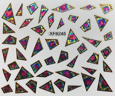 Nail Art 3D Decal Stickers Iridescent Mosaic Pink Blue & Gold Shapes XF6245 Sticker Art Shapes
