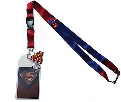 DC Comics Superman Suit Lanyard Sticker ID Badge Holder Metal Shield Charm Legit (Superman Suit)