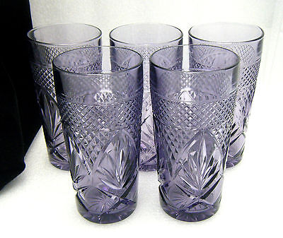 Set of 5 Cris D'Arques Durand Antique Amethyst Purple Glasses Tumblers on Lookza