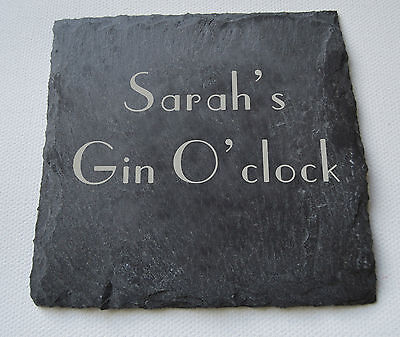 Personalised Slate Engraved Drinks Coasters Set of 2 or 4 - Gin Lovers Gift