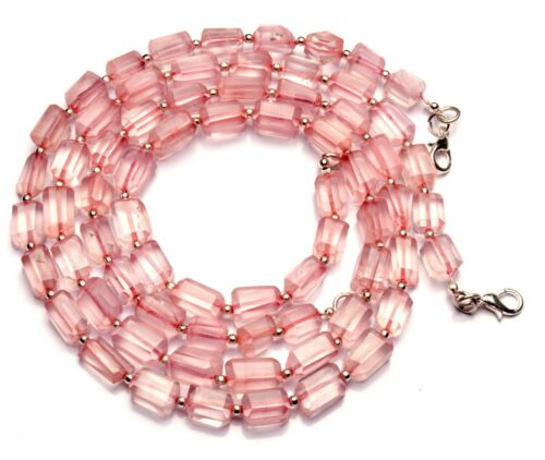 """Natural Gem Rose Quartz 8x6 to 10x7mm Size Faceted Nugget Beads Necklace 17"""""""