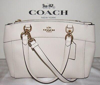 Coach Signature Mini Brooke Carryall Bag Crossbody Leather Chalk White Nwt  350