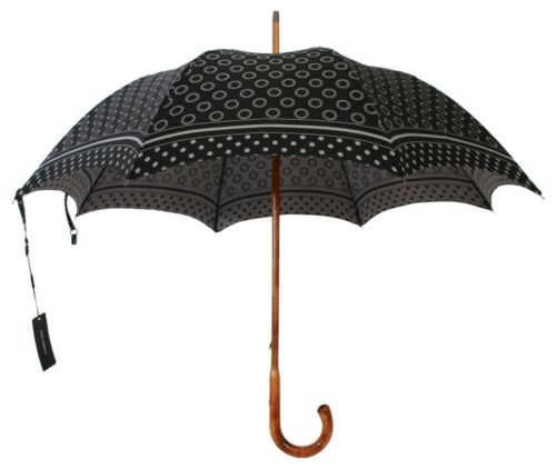 DOLCE & GABBANA Umbrella Black Patterned Dome Shape Hook Handle 90cm RRP $900