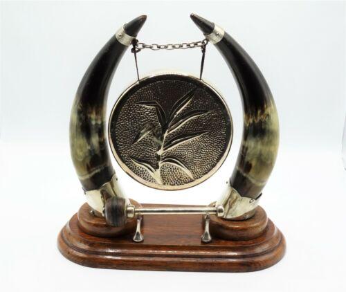 Antique English Horn & Oak Table Gong