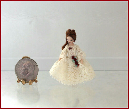 Dollhouse Miniature Ethel Hicks Angel Children Fashion Doll in Lace Gown
