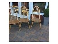 Wanted - ERCOL Quaker Dining Chairs Pine coloured