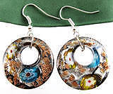 Flower Gold-Dust Lampwork Murano Glass Round Pendant Earrings