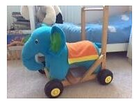 Lovely Wooden Elephant Baby Walker and Ride on