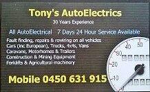 Tony's AutoElectrics - Mobile Auto Electrician Maida Vale Kalamunda Area Preview
