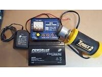 RC Plane engine starter, power box and battery