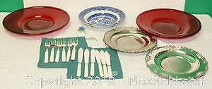 Large Red Glass Serving Plates, Fish Set & More