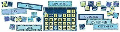Eureka Back to School Blue Harmony Calendar Classroom Supplies, 18 ''x 0.1'' x 2 - Classroom Calendar