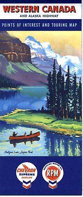 1959 Chevron Road Map: Western Canada NOS