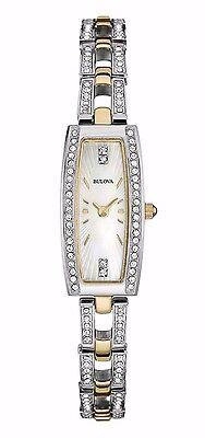 Bulova Women's 98L214 Crystal Accents Rectangle Case Quartz Two Tone Watch
